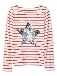 Gap Sequin Graphic Stripe Boatneck Tee - Red stripe combo a