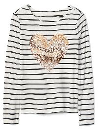 Gap Sequin Graphic Stripe Boatneck Tee - Navy feeder stripe