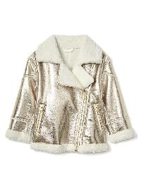 Gap Cozy Metallic Moto Jacket - Nugget gold
