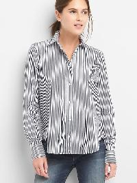 Gap Poplin Stripe Wrap Button Shirt - Navy stripe