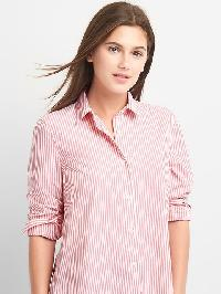 Gap Poplin Stripe Wrap Button Shirt - Pink stripe