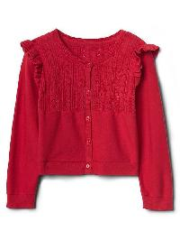 Gap Pointelle Ruffle Cardigan - Modern red 2