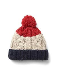 Gap Cable Knit Pom Pom Beanie - Modern red
