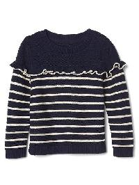 Gap Breton Stripe Ruffle Sweater - Blue uniform