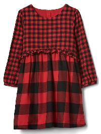 Gap Buffalo Plaid Ruffle Dress - Buffalo plaid