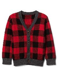 Gap Buffalo Plaid Button Cardigan - Modern red 2