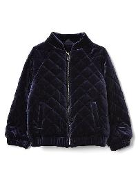 Gap Quilted Velvet Flight Jacket - Blue uniform