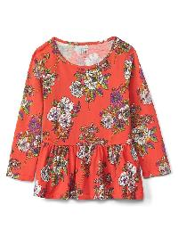 Gap Jersey Peplum Tunic - Red floral print