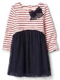 Gap Stripe Mix Fabric Bow Dress - Indigo chambray