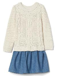 Gap Cable Knit Chambray Dress - Off white