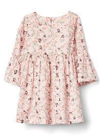 Gap Print Bell Sleeve Dress - Pink print