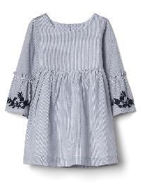 Gap Print Bell Sleeve Dress - Corsica blue stripe