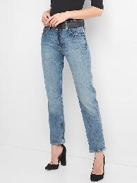 Gap Mid Rise Button Fly Straight Jeans - Medium indigo 8