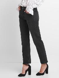 Gap Mid Rise Button Fly Straight Jeans - Matte black