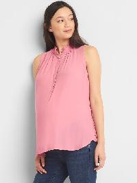 Gap Maternity Sleeveless Henley Top - Elle pink