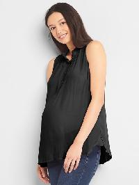 Gap Maternity Sleeveless Henley Top - True black