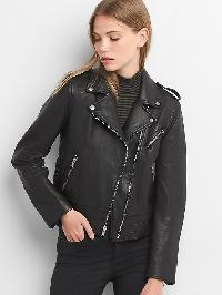 Gap Side Tie Leather Jacket - Black