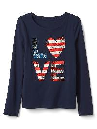 Gap Flippy Sequin Love Tee - Blue uniform