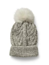 Gap Cable Knit Pom Pom Beanie - Light heather grey