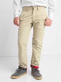 Gap Flannel Lined Chinos - Khaki