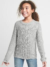 Gap Sequin Cable Knit Sweater - Light heather grey