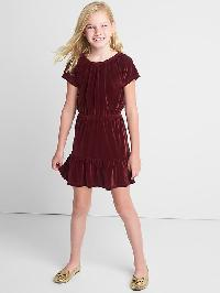 Gap Velvet Keyhole Tiered Dress - Dark claret