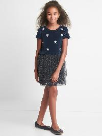 Gap Starry Velvet Tulle Dress - Blue galaxy