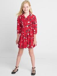 Gap Floral Tie Belt Shirtdress - Red floral print