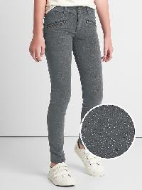 Gap High Stretch Sparkle Super Skinny Cord Jeans - Grey rinse