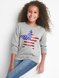 Gap Americana Sequin Crew Sweater - Light heather grey