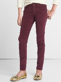 Gap High Stretch Zip Super Skinny Cords - Red mahogany