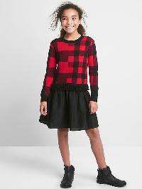 Gap Buffalo Plaid Mix Fabric Dress - Buffalo plaid