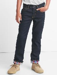 Gap Stretch Flannel Lined Straight Jeans - Light wash