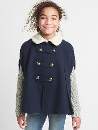 Gap Cozy Peacoat Cape - Blue uniform