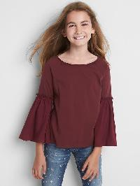 Gap Mix Fabric Bell Top - Wine oclock 501