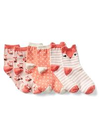 Gap Graphic Half Crew Socks (3 Pack) - Fox 660