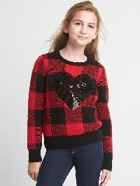 Gap Buffalo Plaid Sequin Sweater - Modern red 2