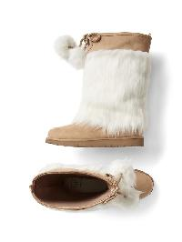 Gap Shaggy Faux Fur Boots - Ivory frost