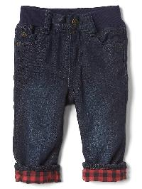 Gap My First Flannel Lined Straight Jeans - Dark wash