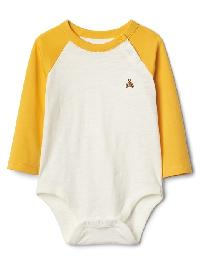 Gap Long Sleeve Slub Baseball Bodysuit - Kayak