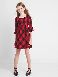 Gap Plaid Bell Sleeve Dress - Red plaid