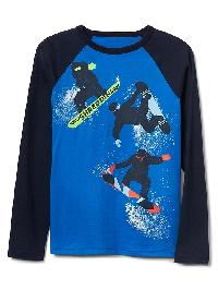 Gap Graphic Long Sleeve Baseball Tee - Radiant blue
