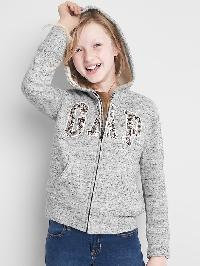 Gap Cozy Sequin Logo Zip Hoodie - Grey nep