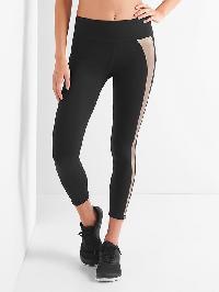 Gap Gfast Blackout Asymmetric Stripe 7/8 Leggings - True black