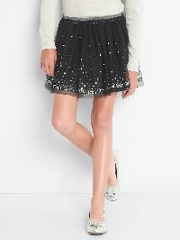 Gap Sequin Tulle Flippy Skirt - True black