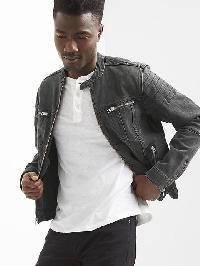 Gap Indestructible Denim Moto Jacket - Washed black