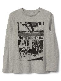 Gap Graphic Long Sleeve Tee - L&c lt. hthr grey b08