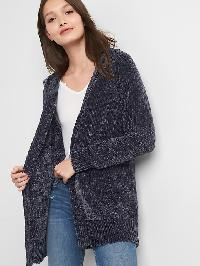 Gap Chenille Open Front Cardigan - Moonless night