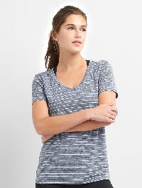 Gap Breathe Stripe V Neck Tee - True indigo