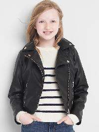 Gap Faux Leather Moto Jacket - True black